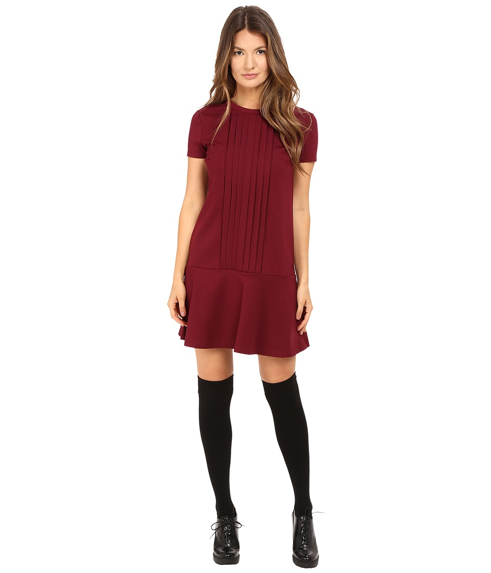 RED VALENTINO - Tech Ponte Jersey Dress (Maroon) Women's Dress