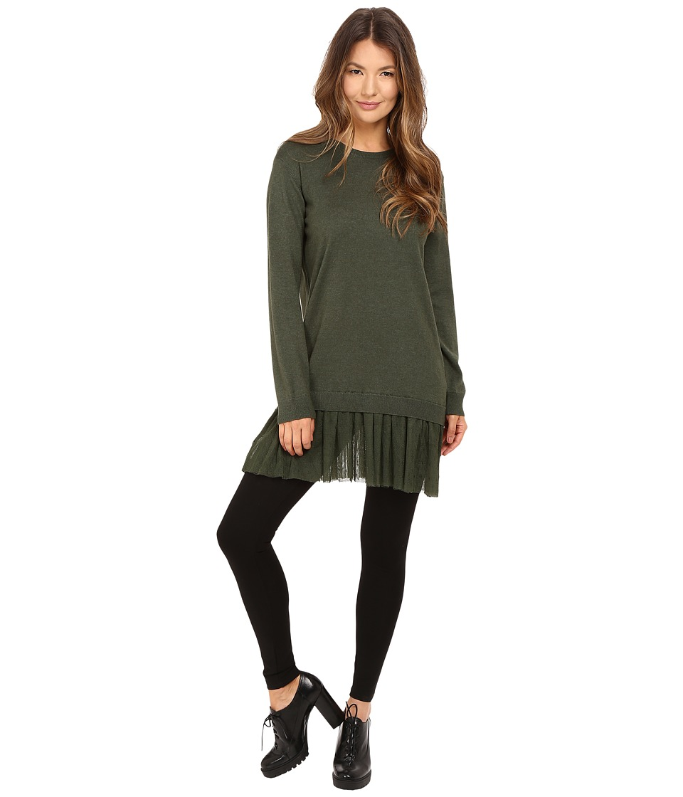 RED VALENTINO - Cashmere Silk Yarn Tunic (Green) Women's Blouse