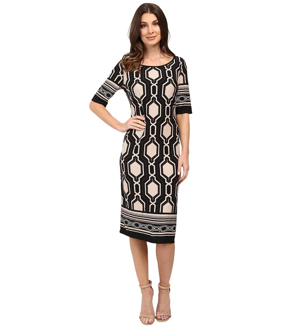 Christin Michaels Cosimia Dress (Black/Taupe) Women