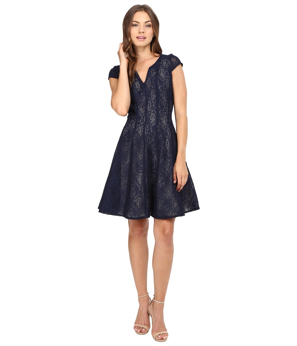 Christin Michaels Alda Lace Dress (Navy) Women