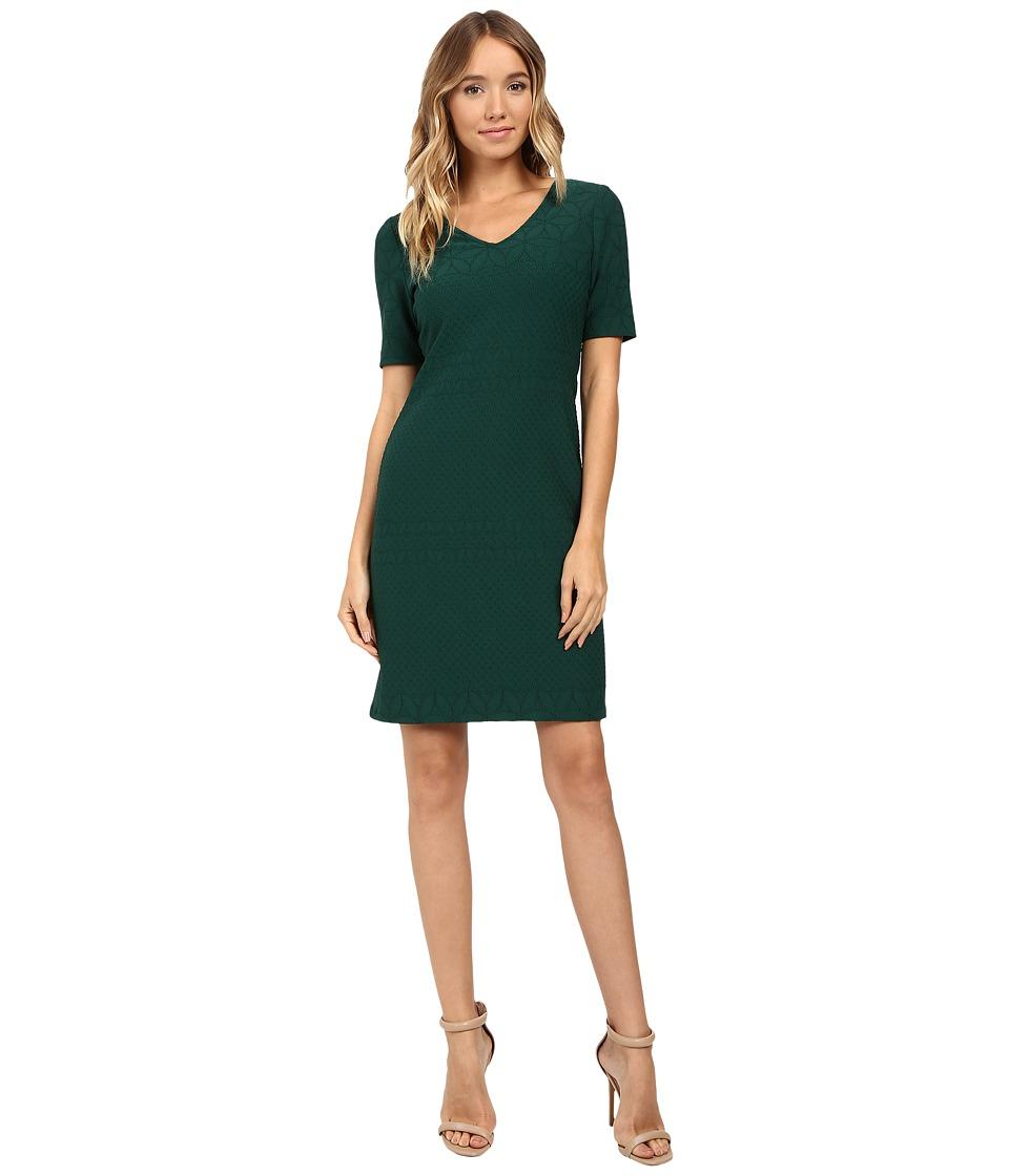 Christin Michaels Aleta Sheath Dress (Hunter Green) Women