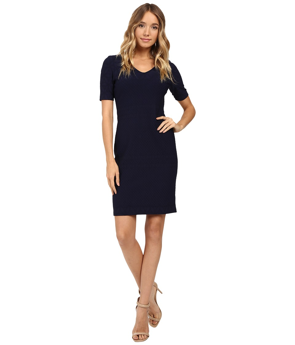 Christin Michaels Aleta Sheath Dress (Navy) Women