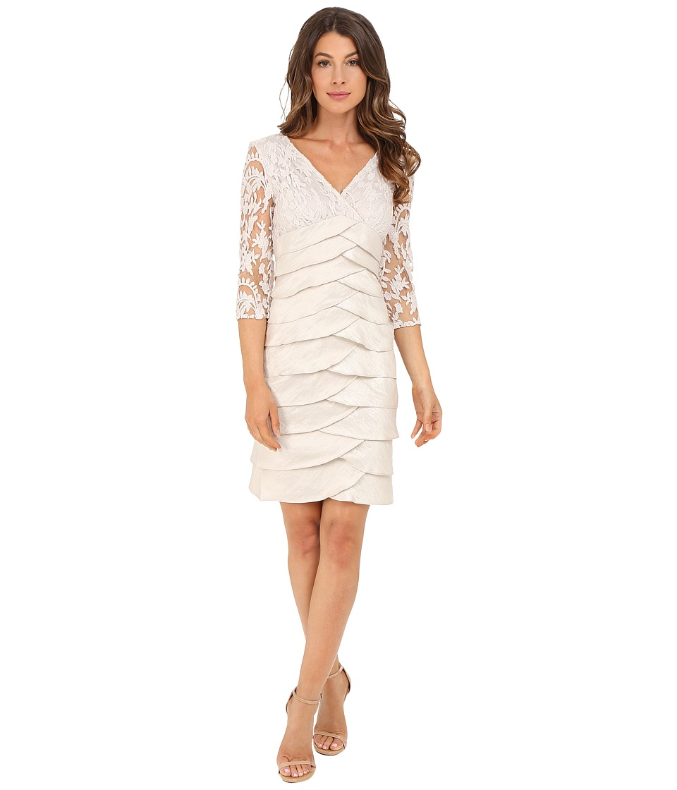 Adrianna Papell - Shimmer Shutter Tuck Lace Dress (Powder) Women's Dress