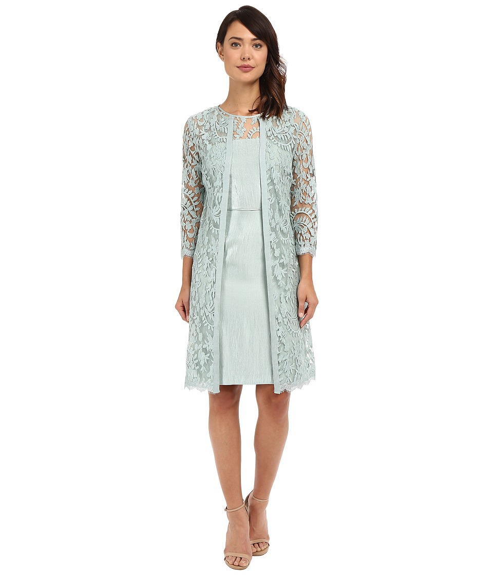 Adrianna Papell - Lace Yoke Shimmer Sheath Jacket (Icy Mint) Women's Dress