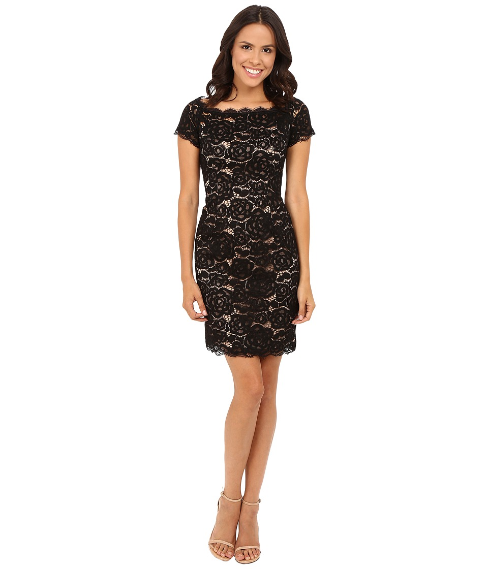 Adrianna Papell - Off the Shoulder Lace Sheath Dress with Contrast Lining (Black/Nude) Women's Dress