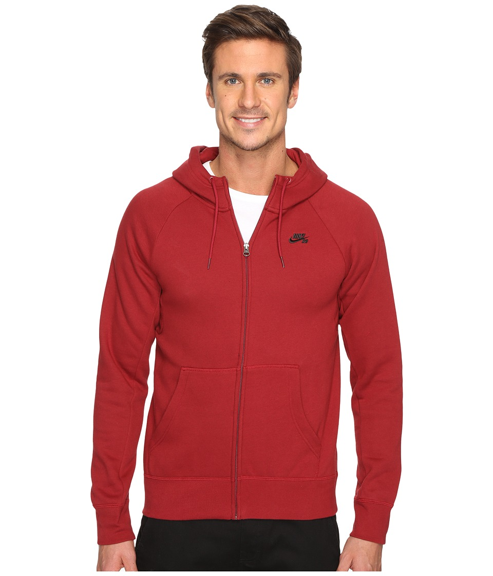 Nike SB - SB Icon Full Zip Hoodie (Team Red/Black) Men's Sweatshirt