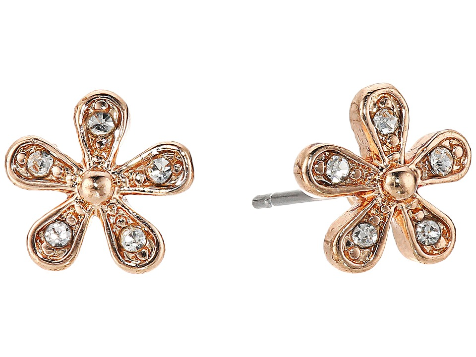 LAUREN Ralph Lauren - Small Flower Stud Earrings (Crystal/Rose Gold) Earring