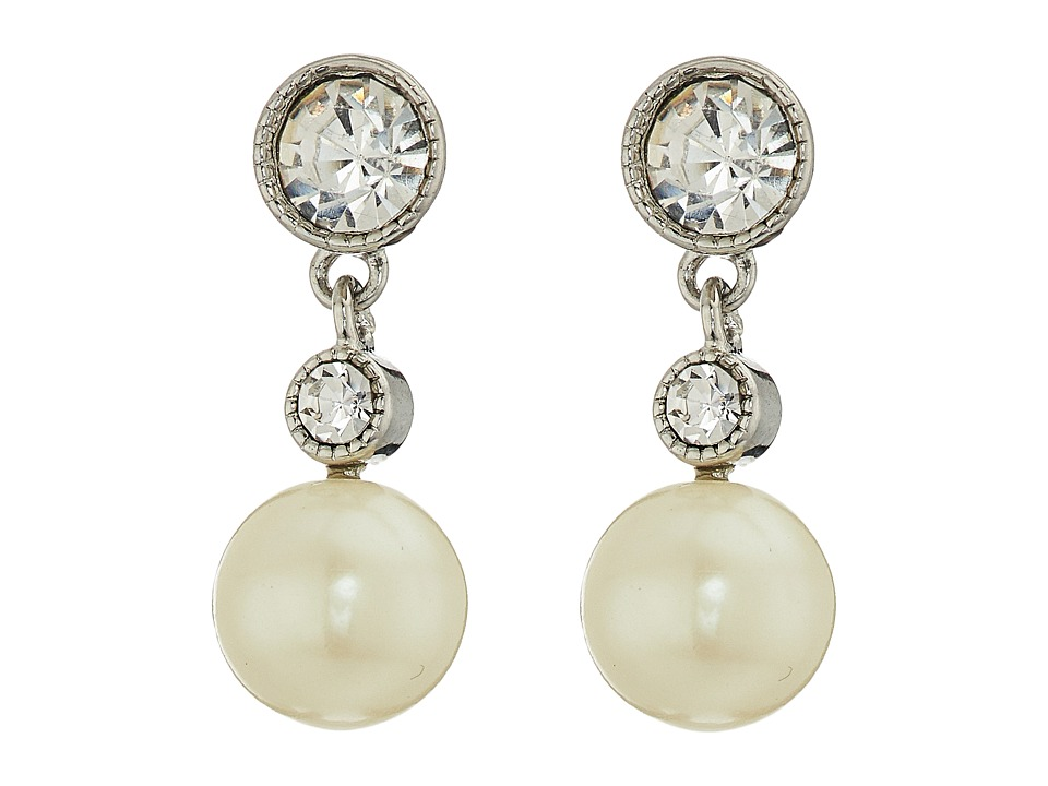 LAUREN Ralph Lauren - Social Set Crystal Pearl Double Drop Earrings (White Pearl/Crystal/Silver) Earring