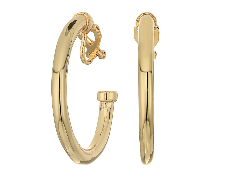 LAUREN Ralph Lauren - Riding High Large Metal 3/4 Clip Hoop Earrings (Gold) Earring