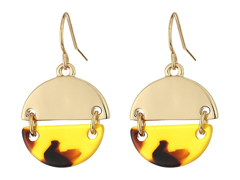 LAUREN Ralph Lauren - Riding High Metal Tortoise Disk Drop Earrings (Tortoise/Gold) Earring
