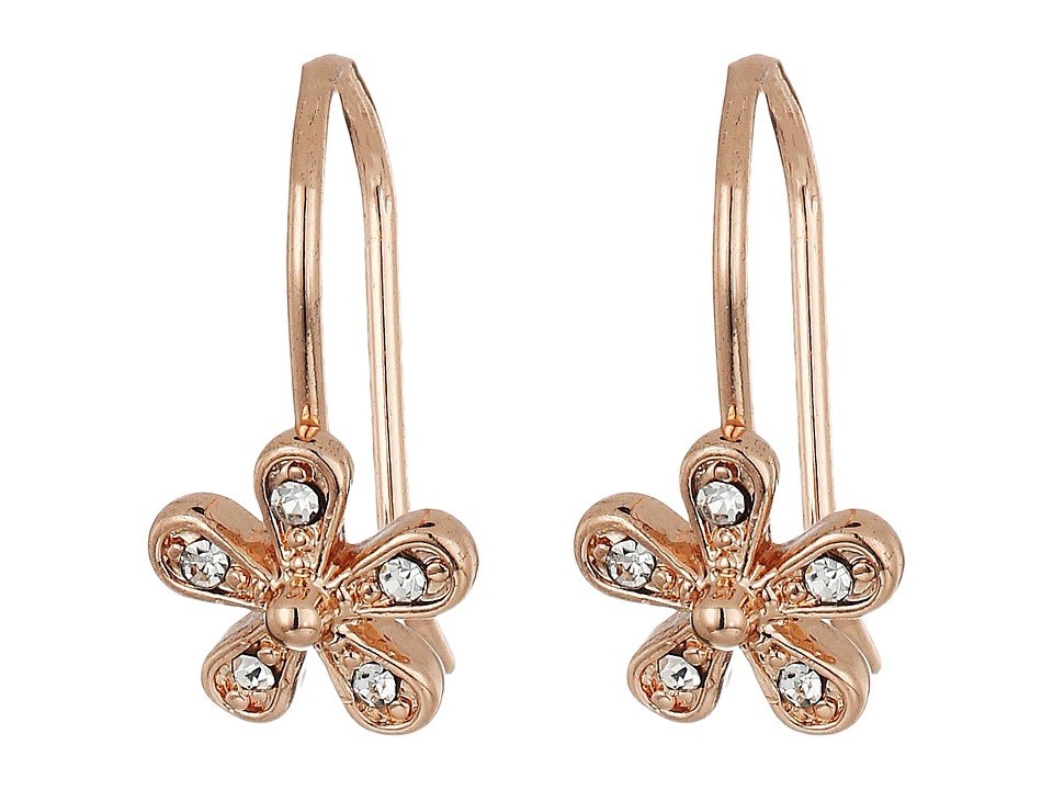 LAUREN Ralph Lauren - Small Flower Drop Earrings (Crystal/Rose Gold) Earring