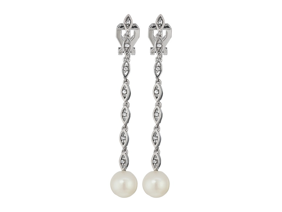 LAUREN Ralph Lauren - Social Set Crystal Linear Pearl Clip Earrings (White Pearl/Crystal/Silver) Earring