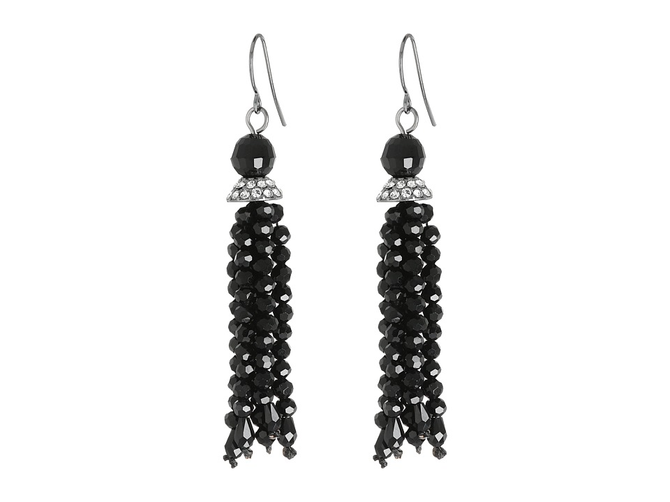LAUREN Ralph Lauren - Hide and Chic Faceted Jet Tassle Earrings (Jet/Crystal/Hematite) Earring