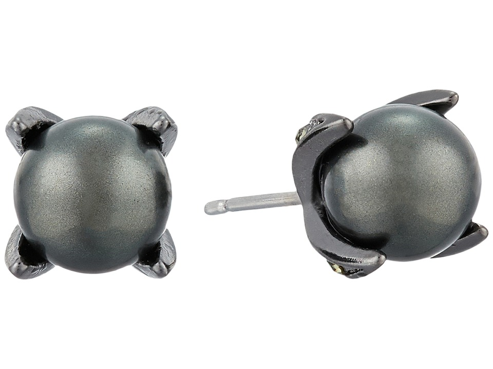 LAUREN Ralph Lauren - Estate Pearl Prong Set Stud Earrings (Black Pearl/Hematite) Earring