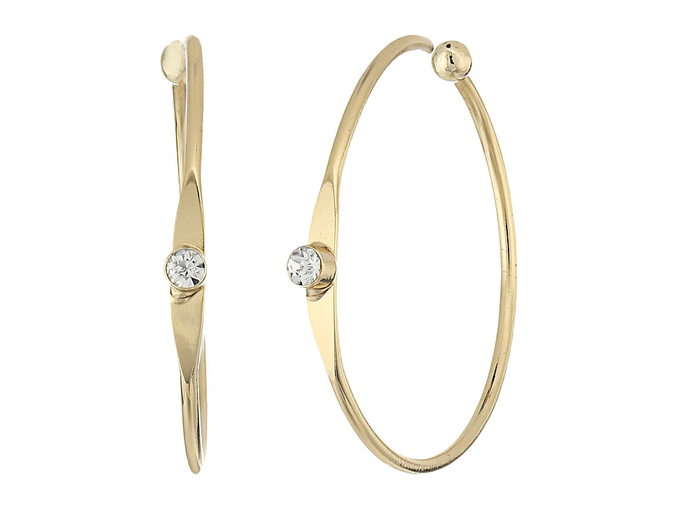 LAUREN Ralph Lauren - Fringe Worthy Mini Hoop Stone Earrings (Gold/Crystal) Earring