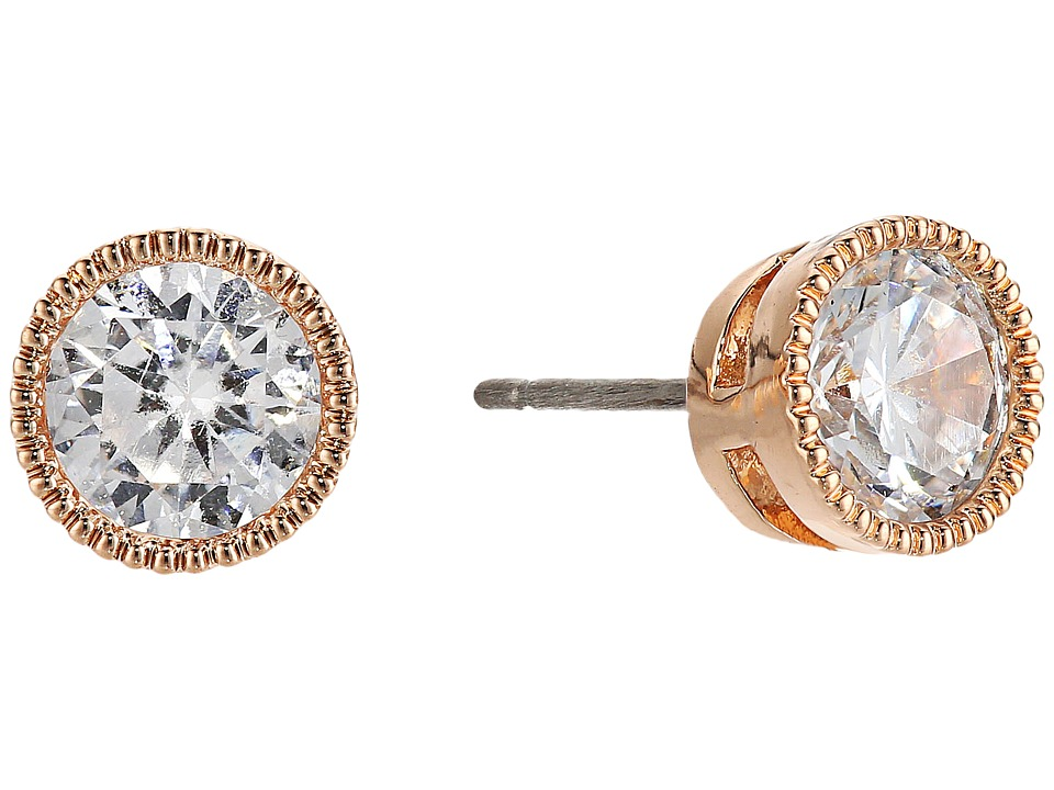 LAUREN Ralph Lauren - Small Stone Stud Earrings (Crystal/Rose Gold) Earring