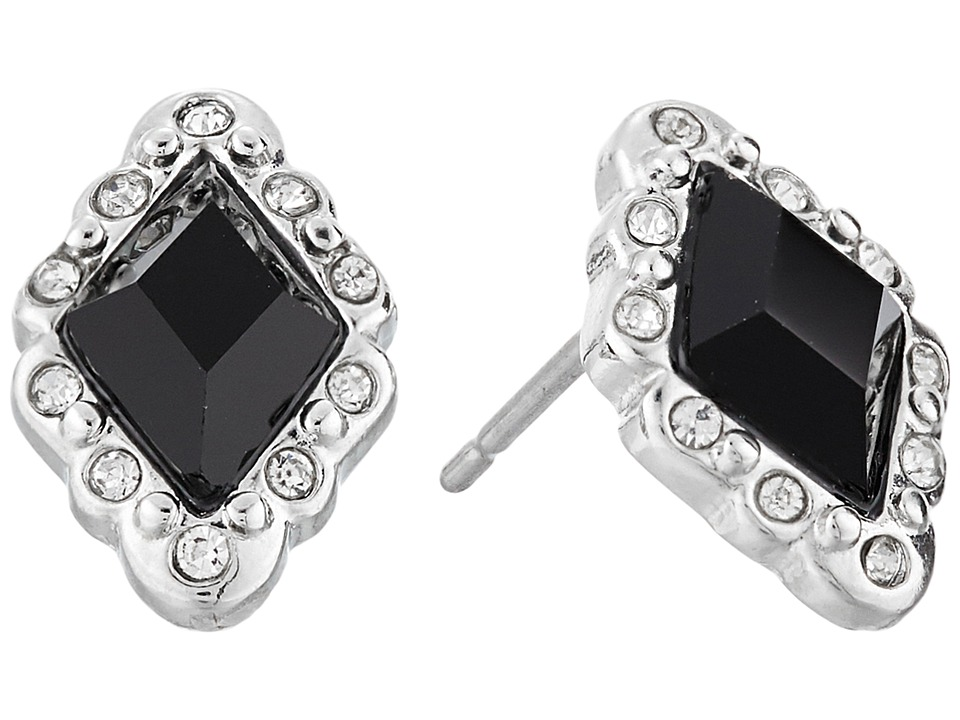 LAUREN Ralph Lauren - Estate Small Faceted Stone Stud Earrings (Black/Crystal/Silver) Earring