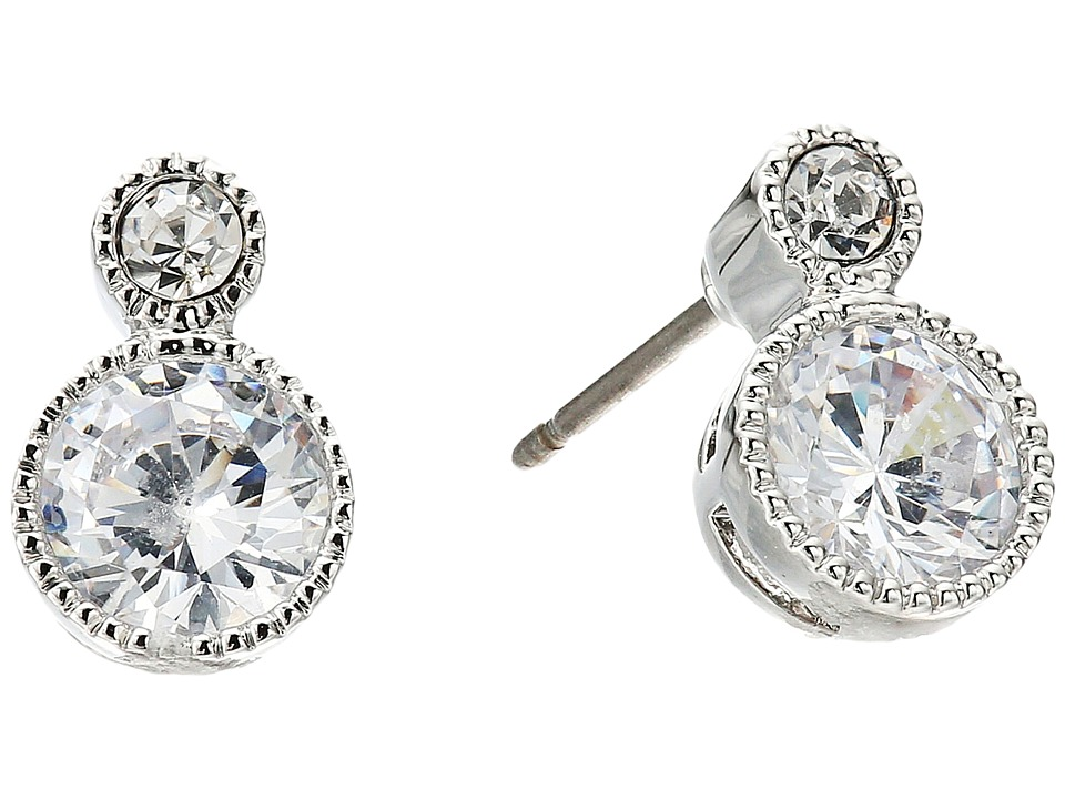LAUREN Ralph Lauren - Social Set Small Stone Double Drop Earrings (Crystal/Silver) Earring