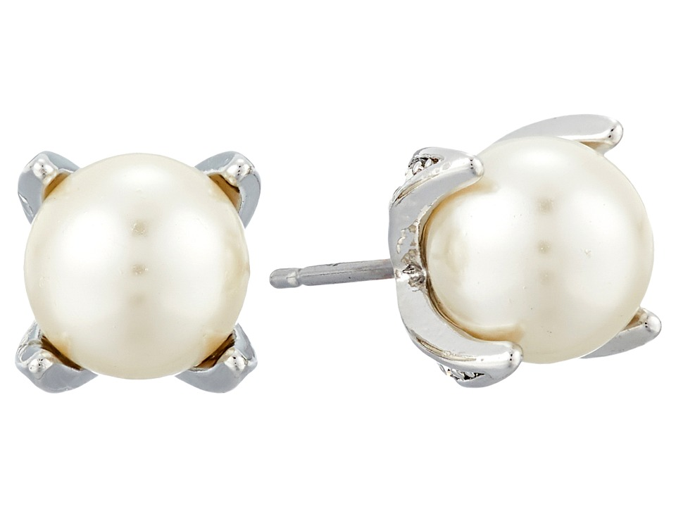 LAUREN Ralph Lauren - Estate Pearl Prong Set Stud Earrings (Crystal/Silver) Earring