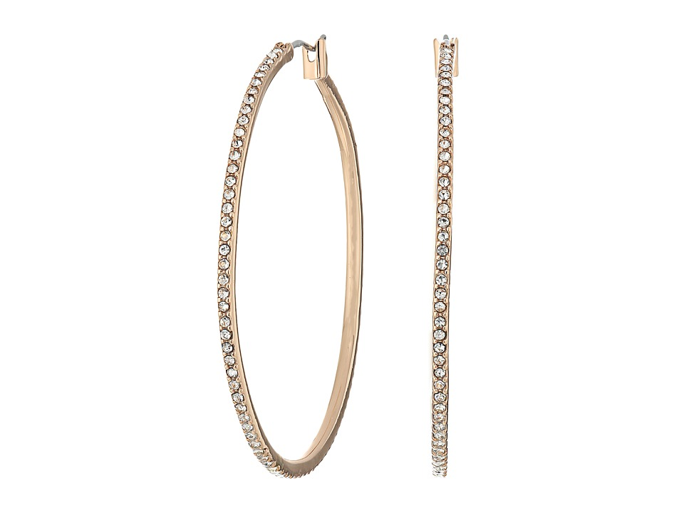 LAUREN Ralph Lauren - Social Set Large Pave Hoop Earrings (Crystal/Silver) Earring