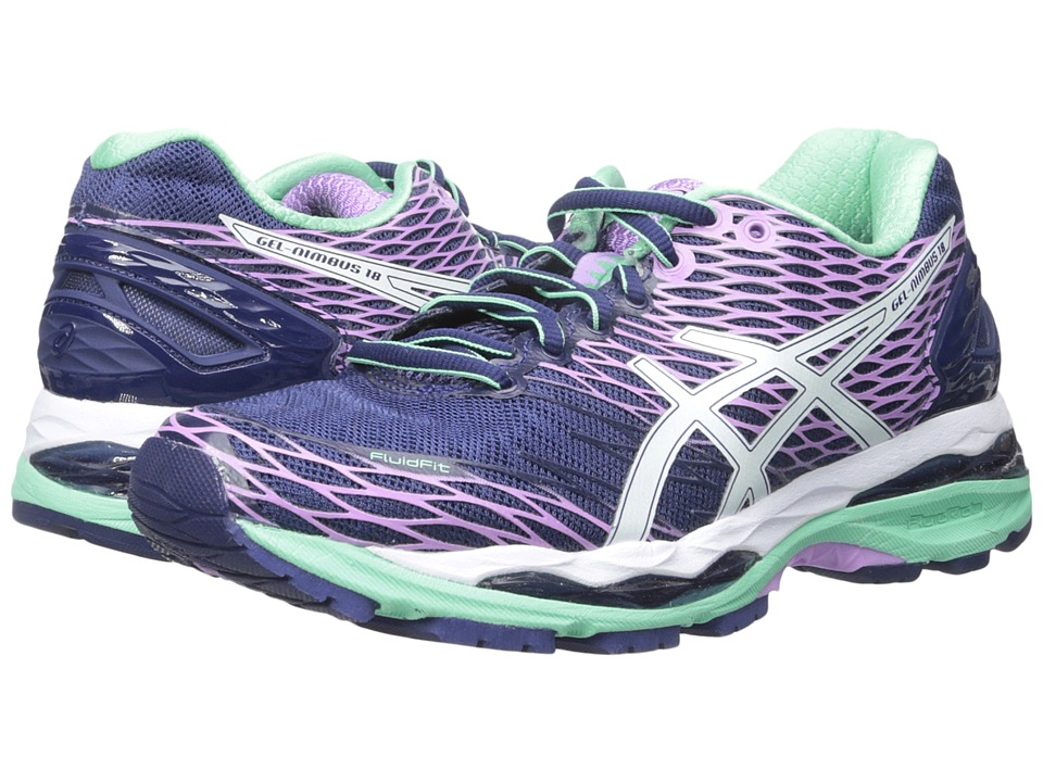 ASICS - Gel-Nimbus 18 (Indigo Blue/White/Spring Bud) Women's Running Shoes