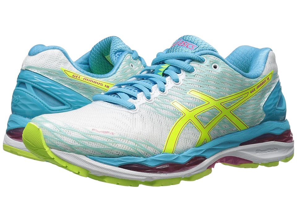ASICS - Gel-Nimbus 18 (White/Safety Yellow/Aquarium) Women's Running Shoes
