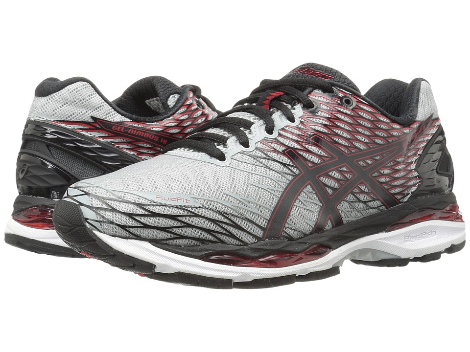 ASICS Gel-Nimbus 18 (Silver/Black/True Red) Men