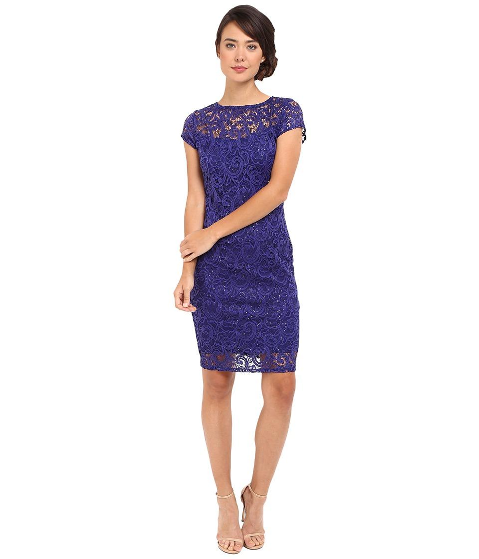 rsvp - Mariko Short Lace Dress (Cobalt) Women's Dress
