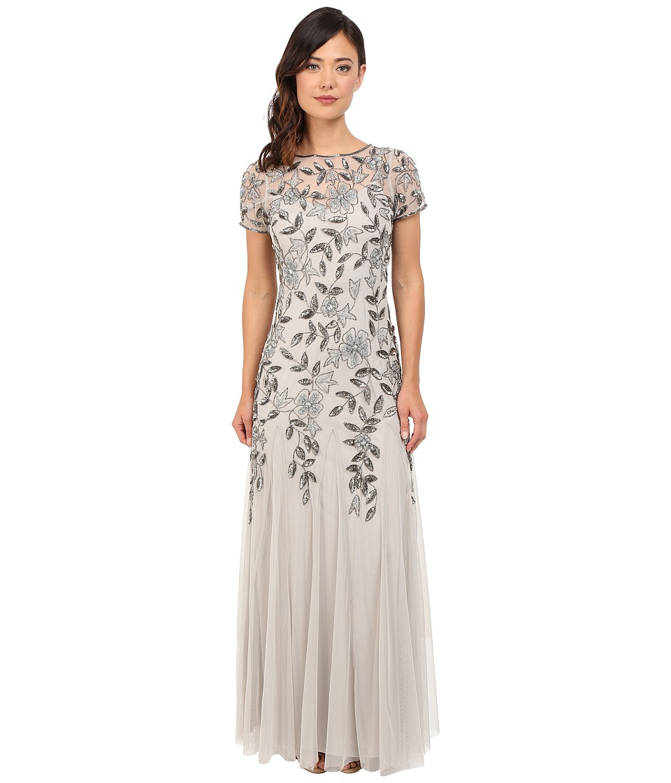 Adrianna Papell - Floral Beaded Godet Gown (Silver) Women's Dress