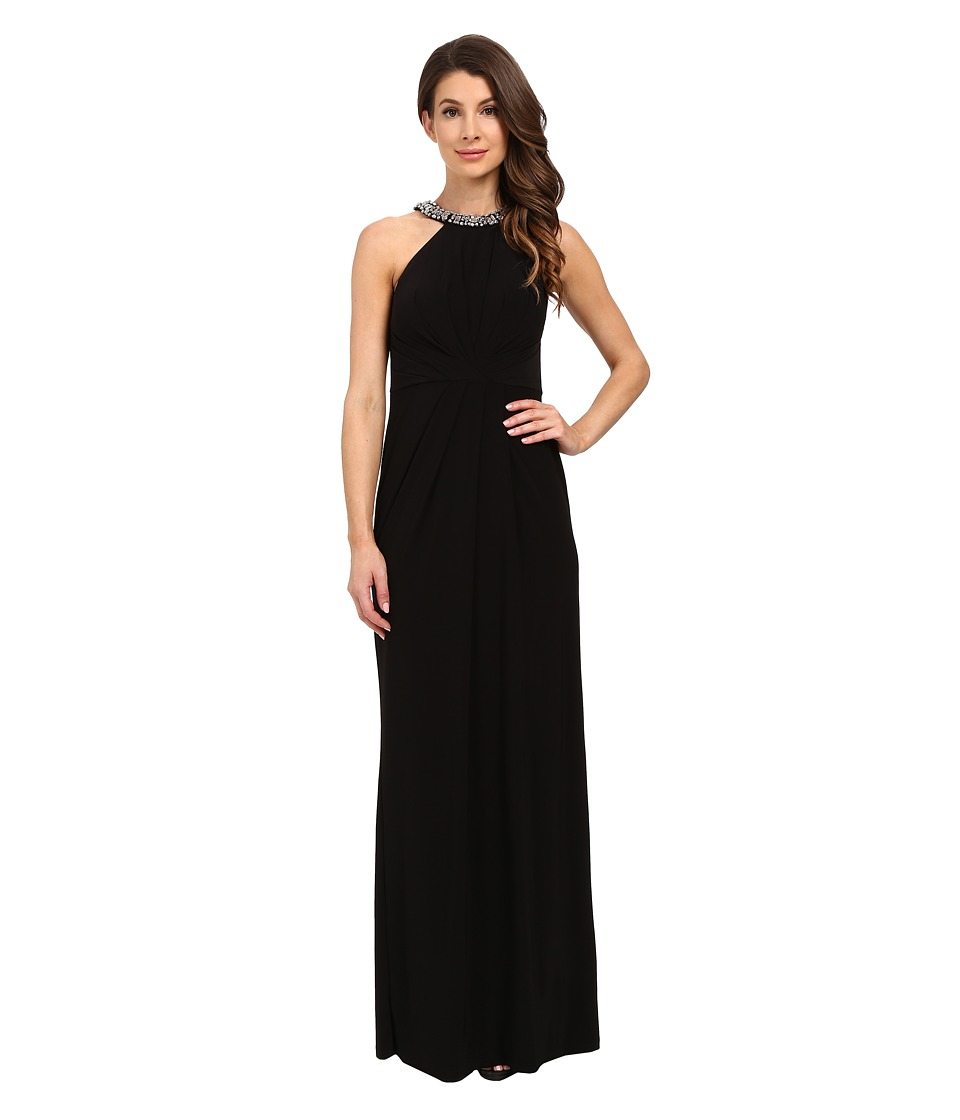 Adrianna Papell - Jersey Halter Gown w/ Necklace (Black) Women's Dress