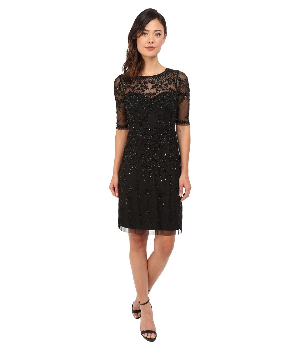 Adrianna Papell - 3/4 Sleeve Fully Beaded Cocktail Dress (Black) Women's Dress