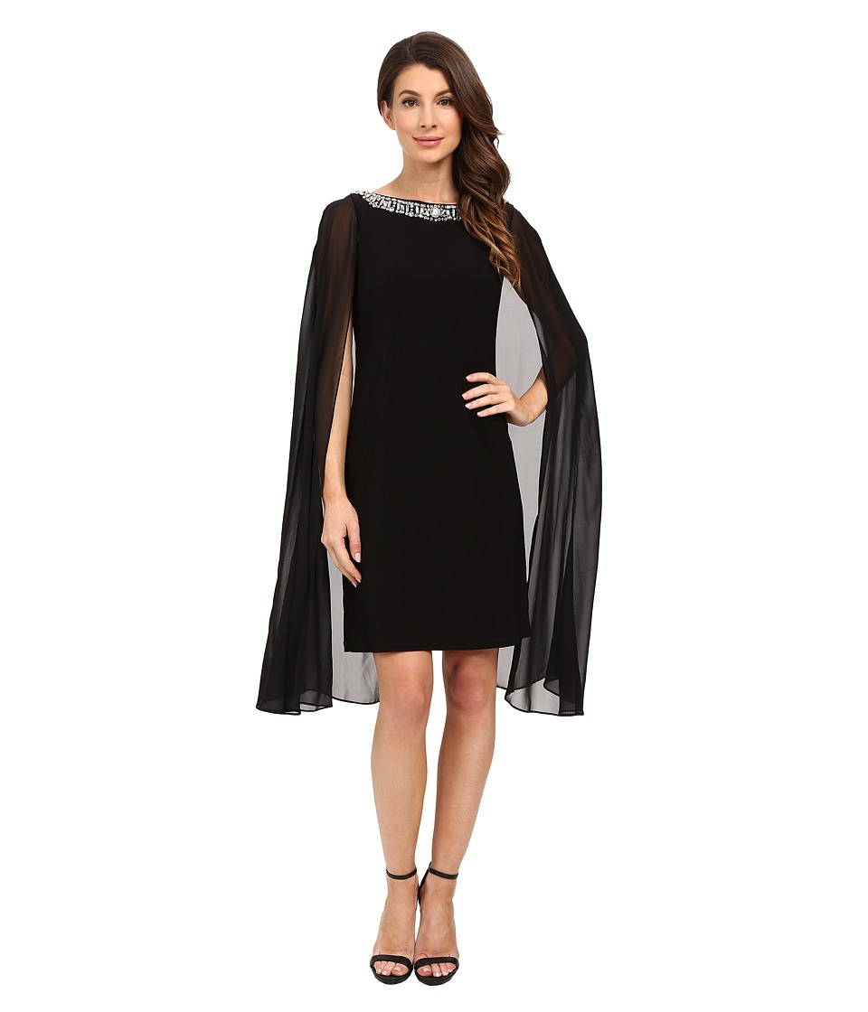 Adrianna Papell - Jersey Beaded Cape Dress (Black) Women's Dress