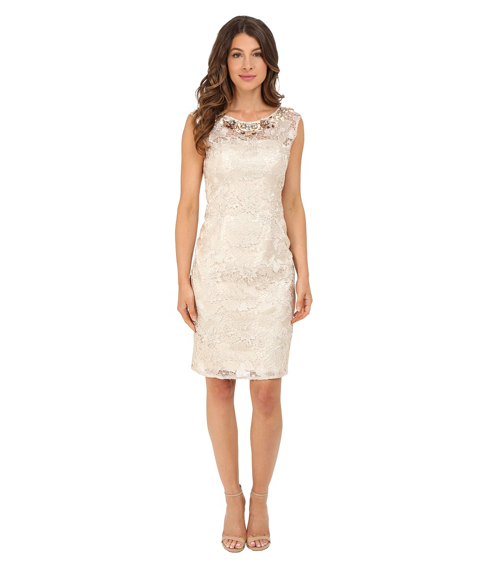 Adrianna Papell Cap Sleeve Sheath Dress with Beads (Champagne) Women