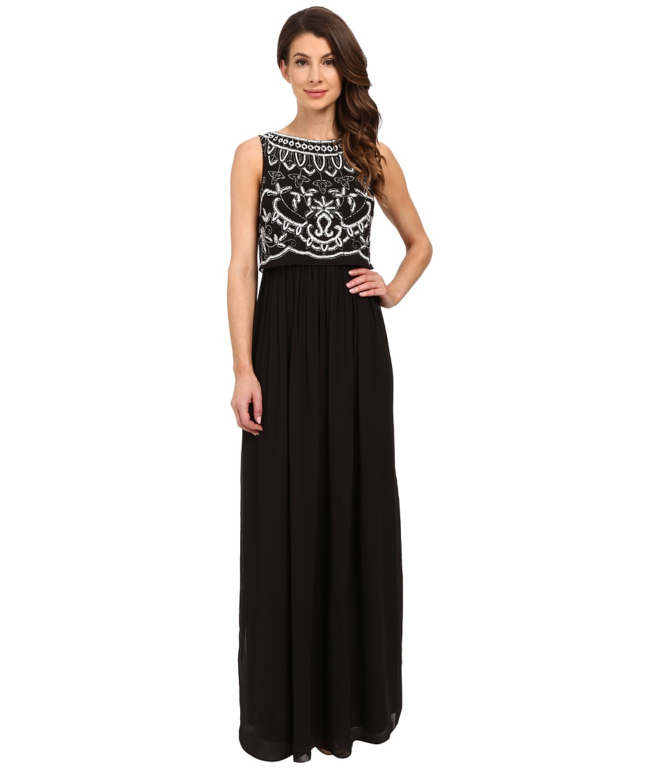 Adrianna Papell - Beaded Bodice Gown (Black/Ivory) Women's Dress