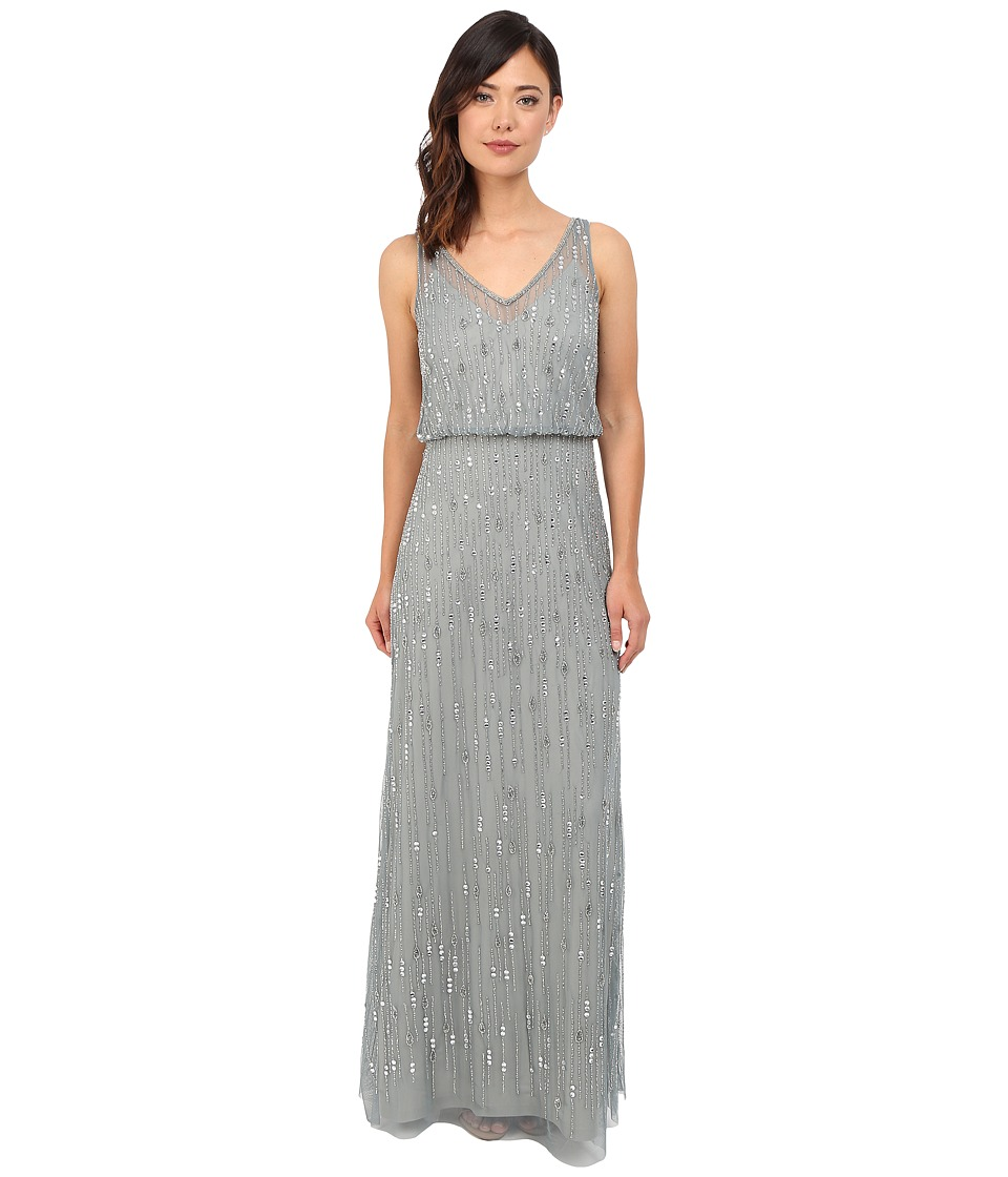 Adrianna Papell - Sleeveless V-Neck Bead Blouson Gown (Slate) Women's Dress