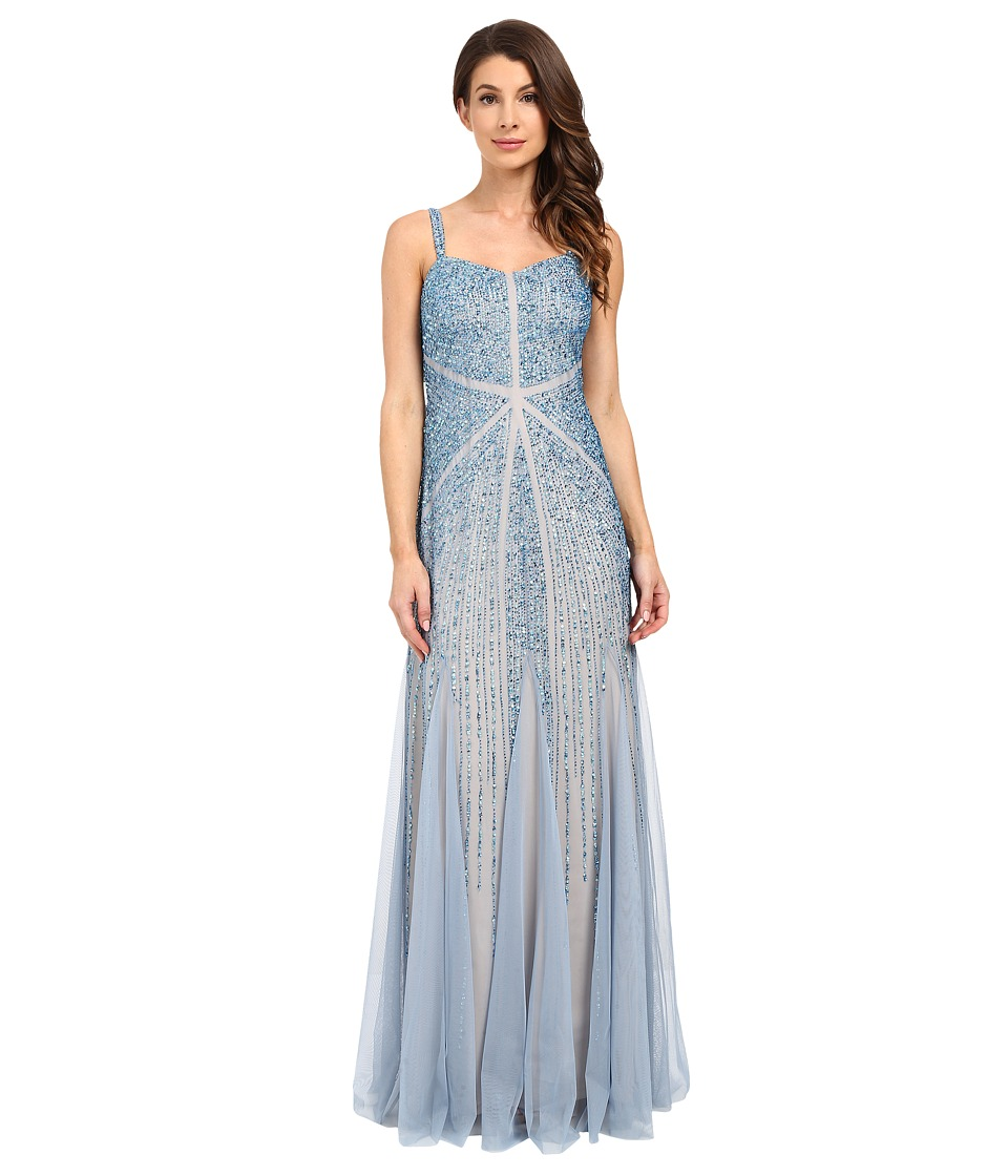 Adrianna Papell - Sleeveless Fully Beaded Godet Gown (Sky Blue) Women's Dress