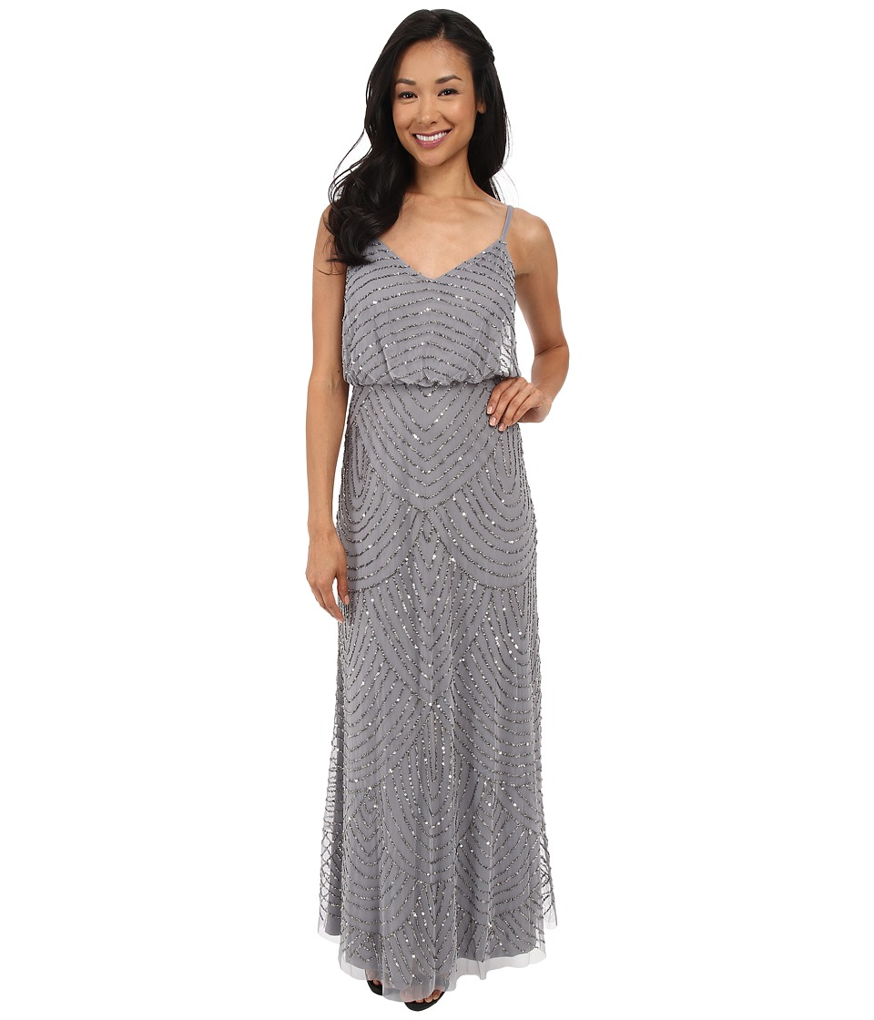 Adrianna Papell - Long Deco Bead Blouson (Silver Grey) Women's Dress