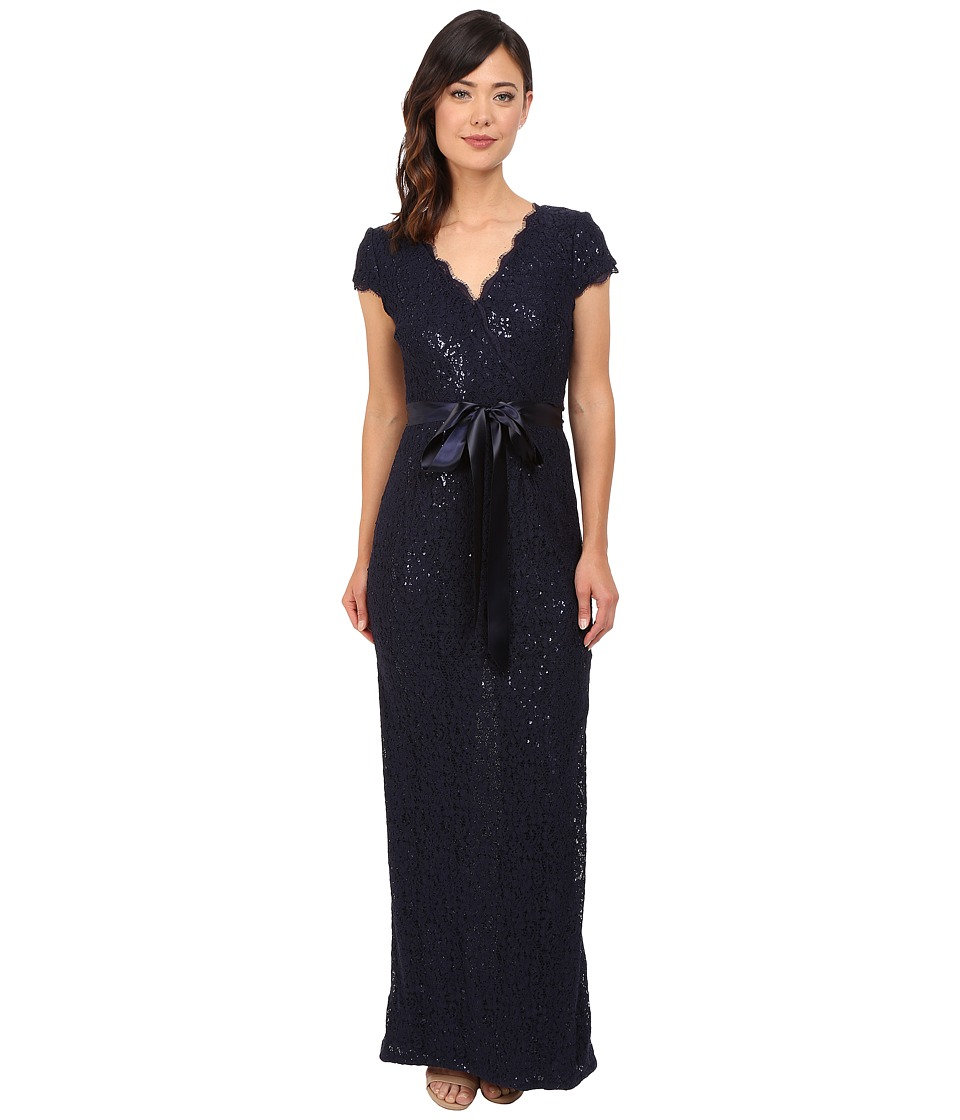 Adrianna Papell - Lace and Sequin Long Dress (Navy) Women's Dress