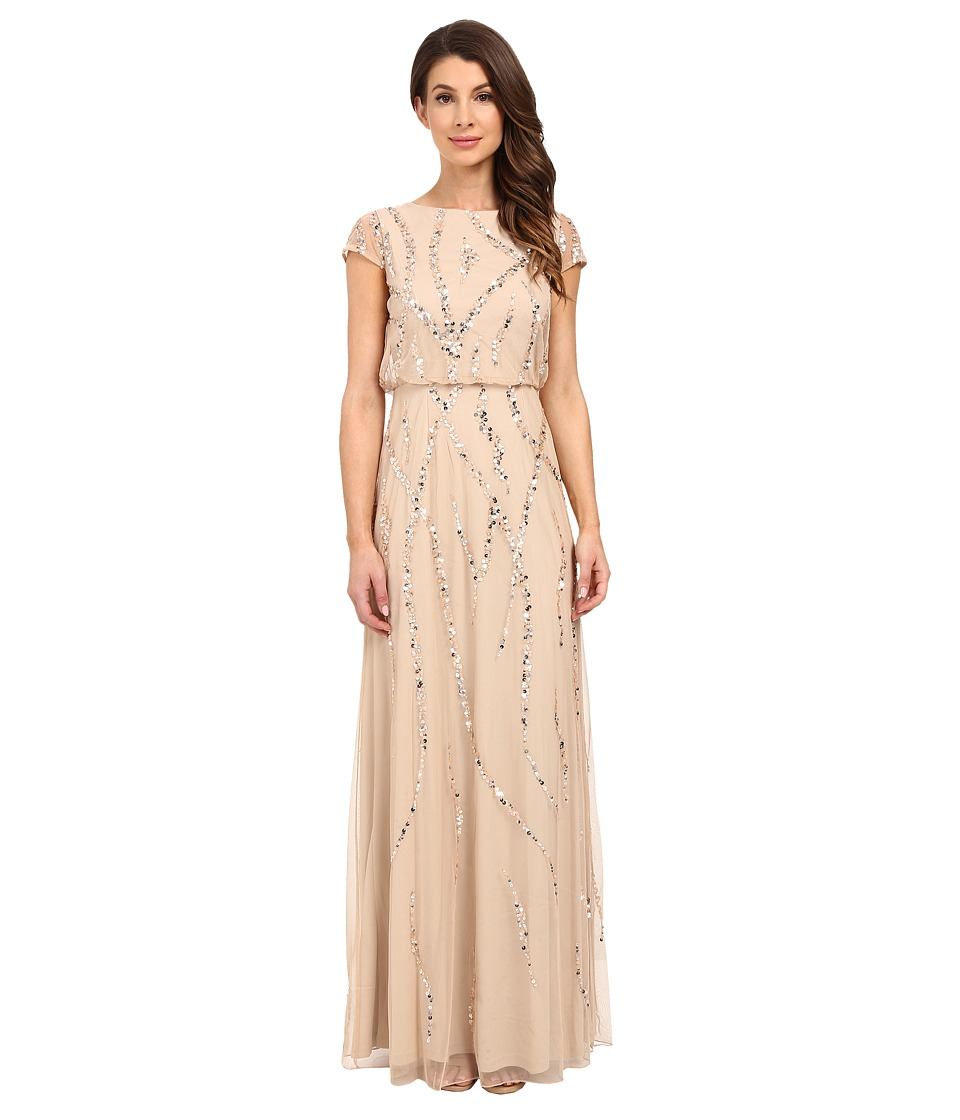 Adrianna Papell - Cap Sleeve Blouson Beaded Gown (Champagne) Women's Dress