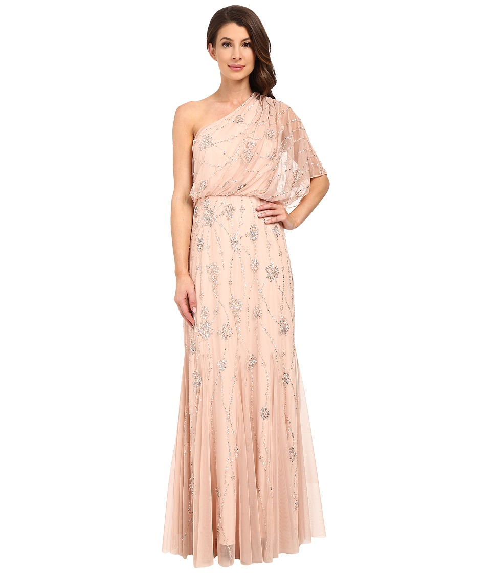 Adrianna Papell - One Shoulder Beaded Blouson Dress (Blush) Women's Dress