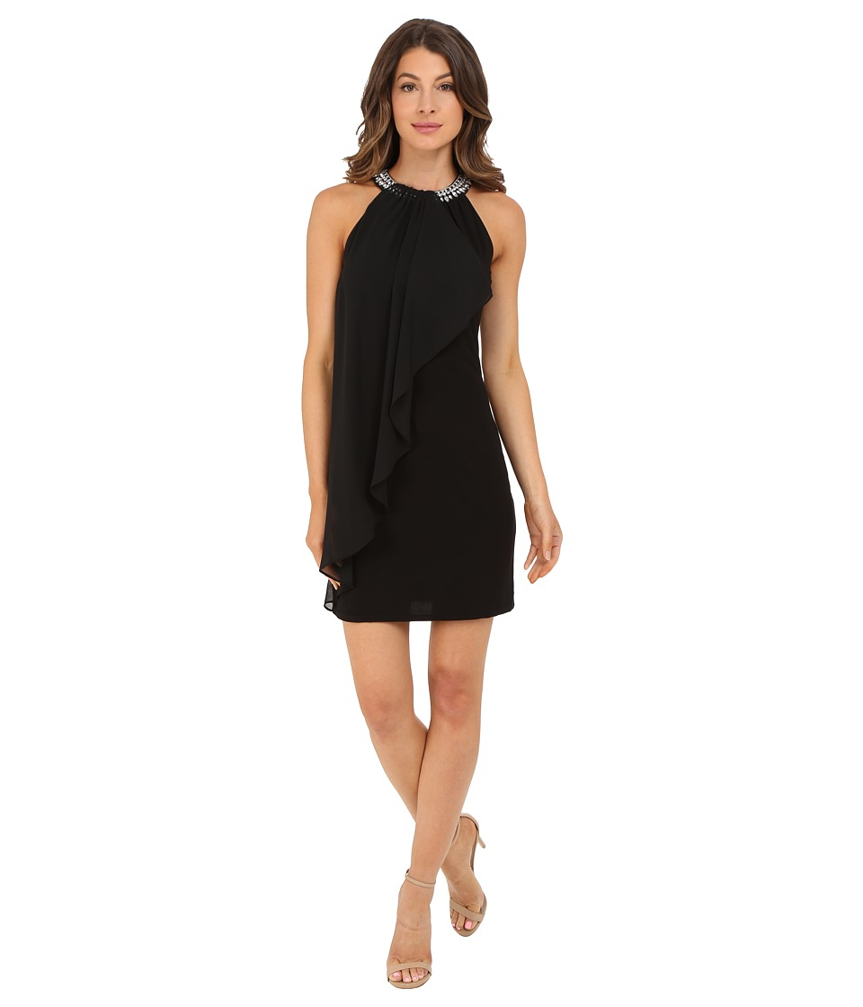 Adrianna Papell - Jersey and Chiffon Necklace Dress (Black) Women's Dress