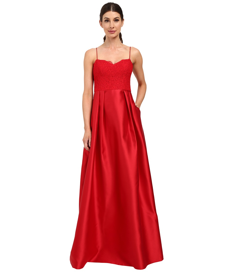 Adrianna Papell - Lace Bodice with Mikado Skirt (Red) Women's Dress