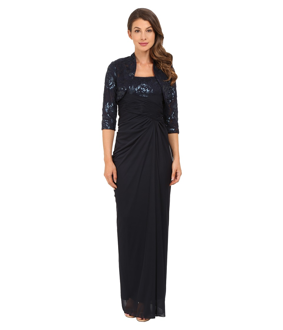 Adrianna Papell Sequin Embroidered Floral Bodice with Tulle Skirt Navy Dress