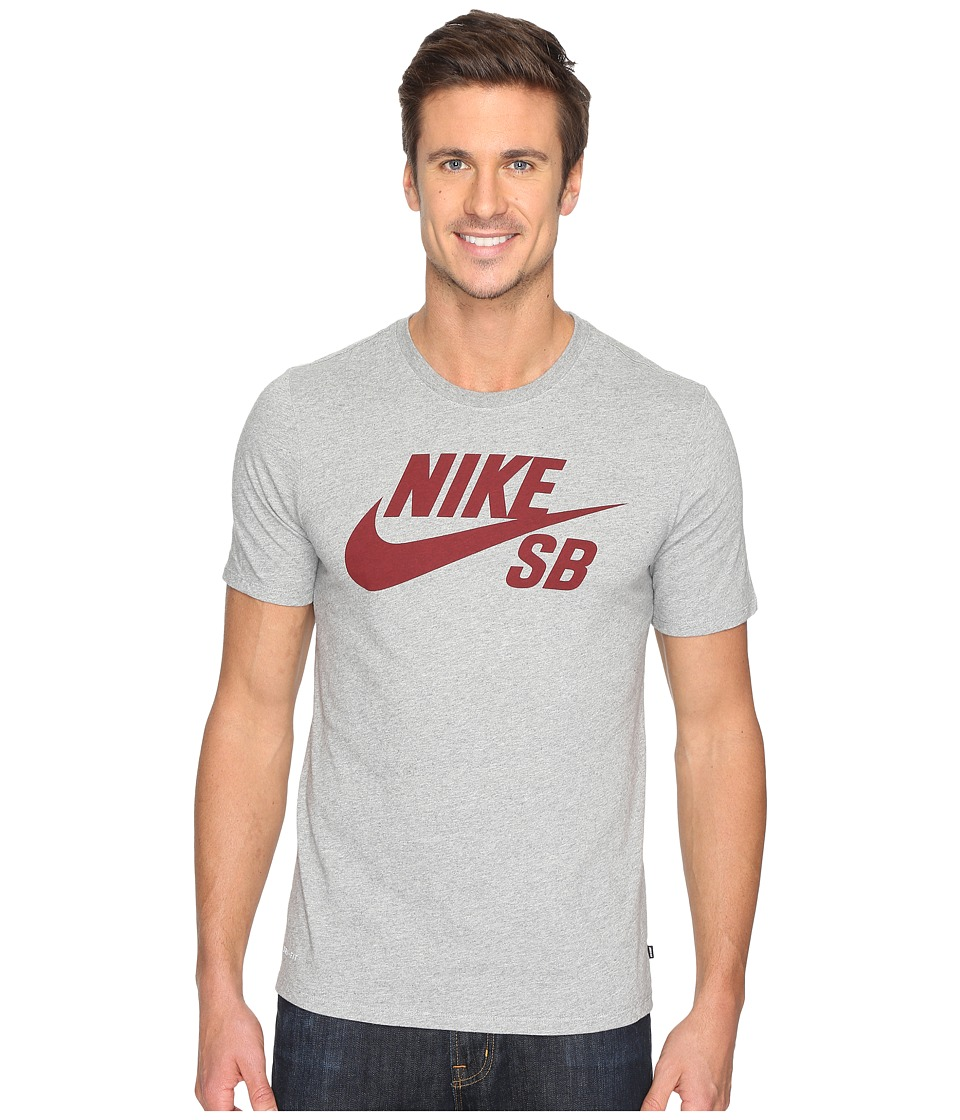 Nike SB - SB Logo Tee (Dark Grey Heather/Dark Grey Heather/Team Red) Men's T Shirt