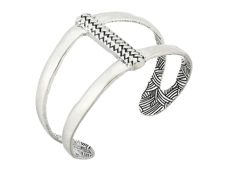 The Sak - Woven Texture Open Cuff Bracelet (Silver) Bracelet