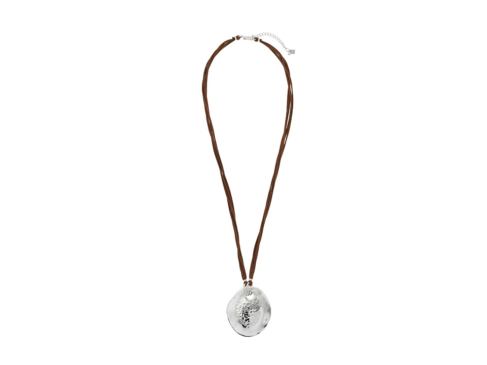 Robert Lee Morris - Oval Leather Pendant Necklace (Brown) Necklace