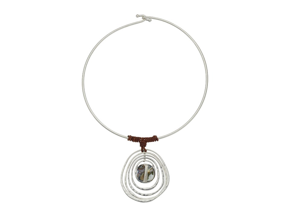 Robert Lee Morris - Blue Shell Round Wire Necklace (Blue) Necklace