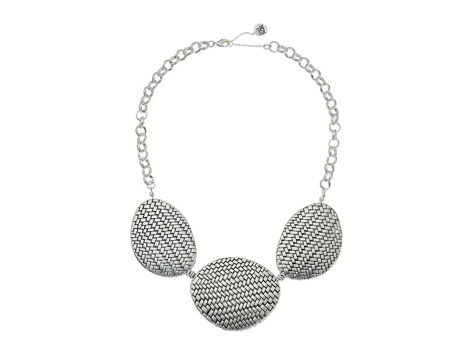 The Sak - Basketweave Texture Frontal Necklace 18 (Silver) Necklace