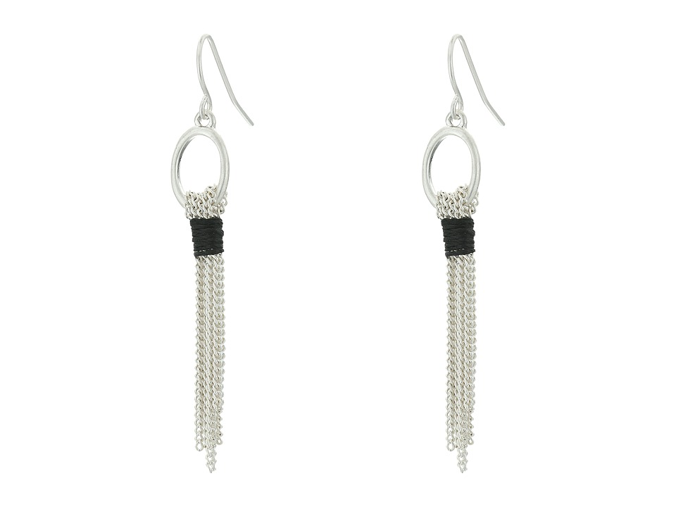 The Sak - Link Fringe Linear Earrings (Silver) Earring