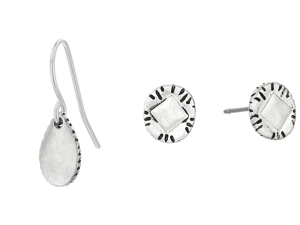 The Sak - Stud Hoop Drop Earrings Set (Silver) Earring